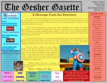 Issue 5 - August 2, 2013 - Gesher Summer Camp