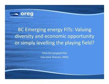 BC Emerging Energy FITs - Marine Renewables Canada