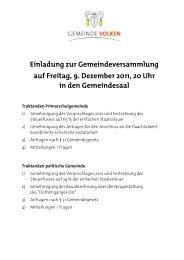 Einladung zur Gemeindeversammlung auf ... - Gemeinde Volken