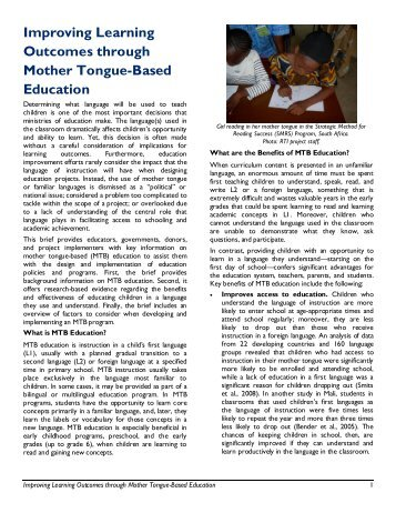 Improving Learning Outcomes through Mother Tongue-Based ...
