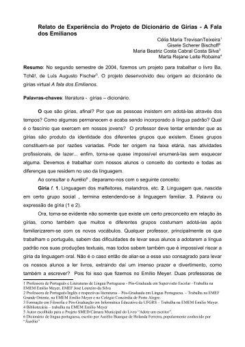 Relato de Experiência do Projeto de Dicionário de Gírias - A Fala ...
