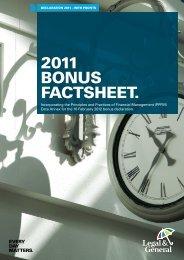 2011 Bonus Factsheet (W11438 - 05/12) - Legal & General
