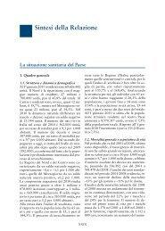 Sintesi della Relazione - Relazione sullo Stato Sanitario del Paese ...