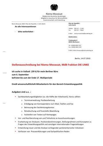 Stellenausschreibung bei Niema Movassat, MdB Fraktion DIE LINKE