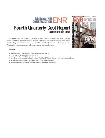 Fourth Quarterly Cost Report - ENR.com - McGraw Hill Construction