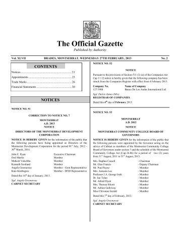 Publication of Gazette FEBRUARY 2013