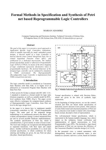 Formal Methods in Specification and Synthesis of Petri net ... - LSI