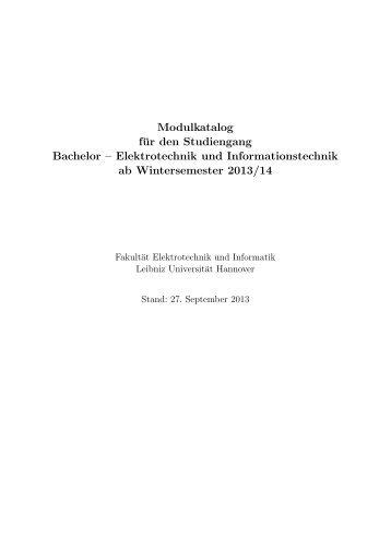 Modulkatalog für den Studiengang Bachelor – Elektrotechnik und ...