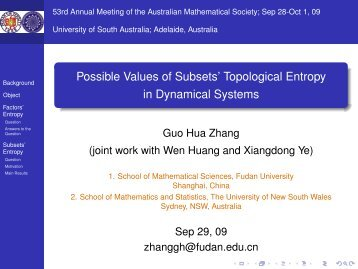 Possible Values of Subsets' Topological Entropy ... - Fudan University