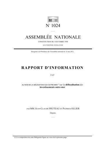 Défiscalisation investissements outre-mer - Assemblée nationale