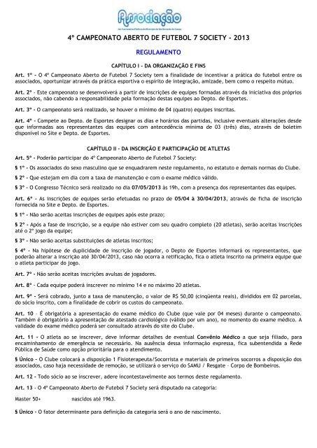 Regulamento do Campeonato - Associação dos Funcionários ...