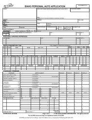IDAHO PERSONAL AUTO APPLICATION - ACORD Forms