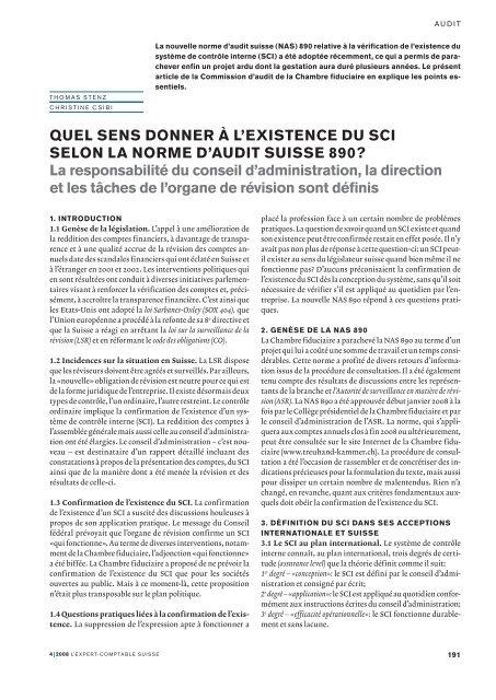 Quel sens donner à l'existence du SCI selon la norme d'audit suisse ...