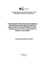 A imunidade tributária dos templos religiosos e das - IDP