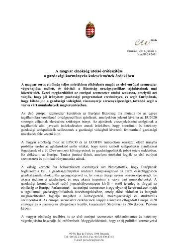 A magyar elnökség utolsó erőfeszítése a gazdasági kormányzás ...