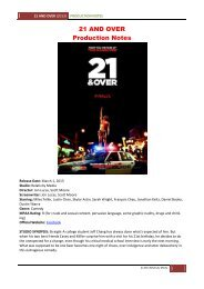 21 AND OVER Production Notes - Visual Hollywood