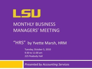 "MONTHLY BUSINESS MANAGERS' MEETING ""HRS"" - Finance and ..."