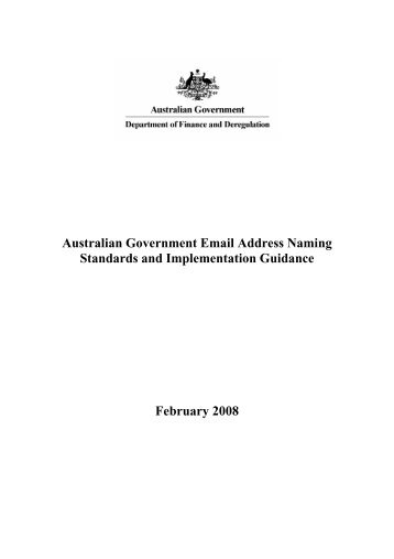 Australian Government Email Address Naming Standards and ...
