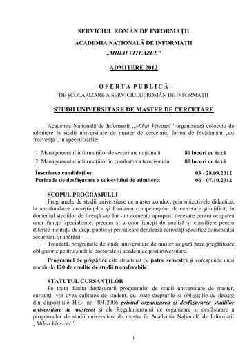 Detalii suplimentare privind condițiile de înscriere la concurs și ...