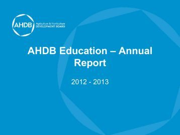 Download the AHDB Education Annual Report 2012-2013