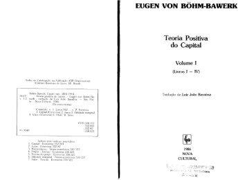 EUGEN VON BOHM-BAWERK Teoria Positiva do Capital Volume I