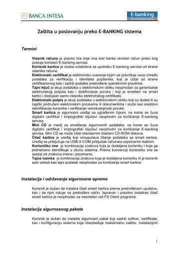 Zaštita u poslovanju preko E-BANKING sistema - Banca Intesa ...