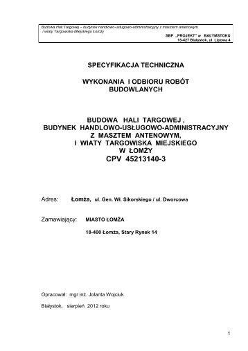 zał nr 15 - Specyfikacja techniczne wykonania i odbioru robót - Łomża
