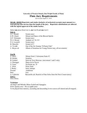 Flute Jury Requirements - Don Wright Faculty of Music - University of ...