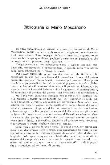 Bibliografia di Mario Moscardino - culturaservizi.it