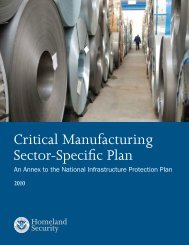 Critical Manufacturing Sector-Specific Plan 2010