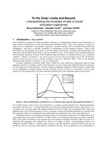 characterising the envelope of sets of social simulation trajectories