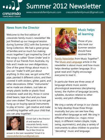Summer 2012 Newsletter - crescendo family music