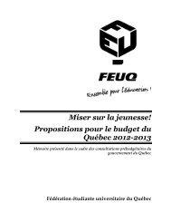 Propositions pour le budget du Québec 2012-2013 - StudentUnion.ca