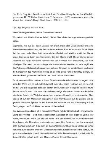 Die Rede Siegfried Wolskes anlässlich der Schlüsselübergabe an ...