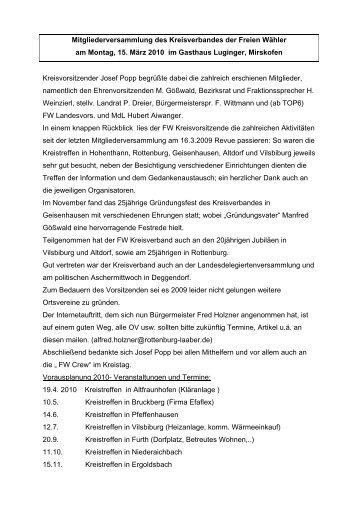 Mitgliederversammlung des Kreisverbandes der Freien Wähler am ...