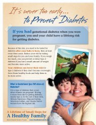 It's never too early to prevent diabetes. - National Diabetes ...