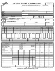 OKLAHOMA PERSONAL AUTO APPLICATION - ACORD Forms