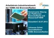Arbeitskreis Industrienetzwerk der VDMA AG Brennstoffzellen