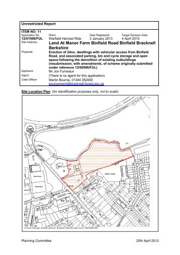Application 12/01008/FUL Land at Manor Farm, Binfield Road ...