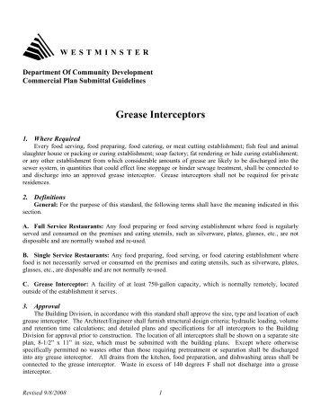 Grease Interceptors