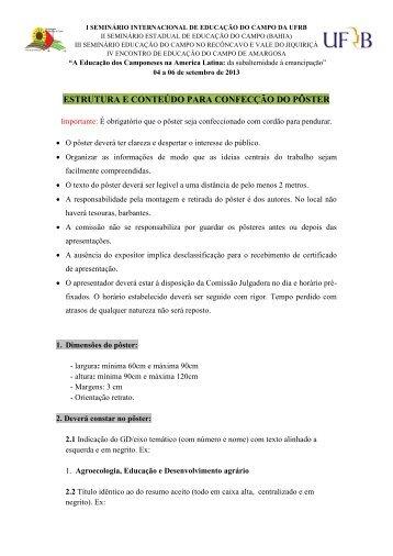 ESTRUTURA E CONTEÚDO PARA CONFECÇÃO DO ... - UFRB
