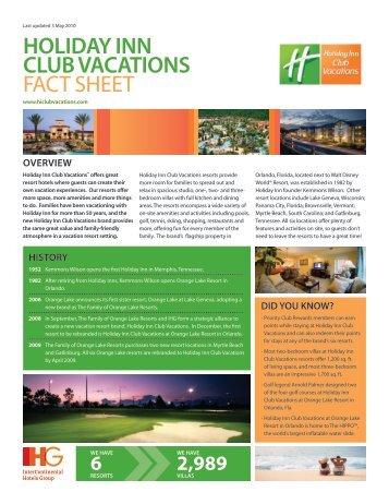 Holiday Inn Club Vacations Fact Sheet (1 MB