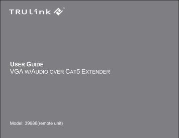 USER GUIDE VGA W/AUDIO OVER CAT5 EXTENDER