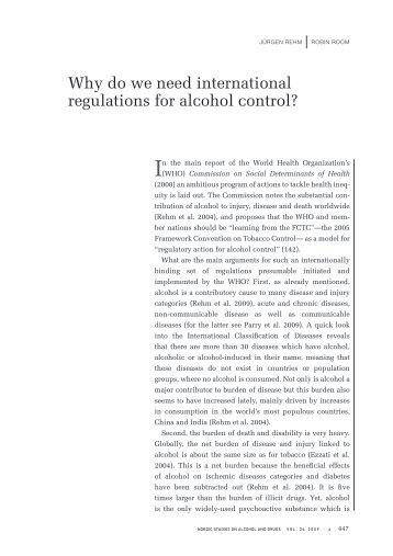 Why do we need international regulations for alcohol control?
