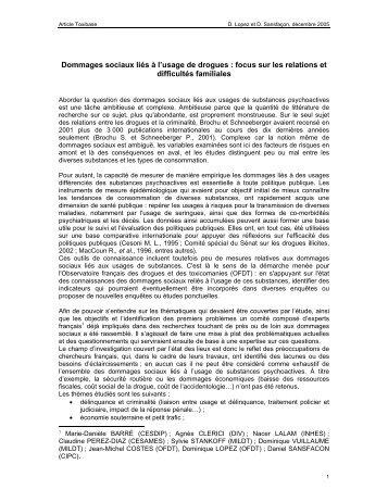 Dommages sociaux liés à l'usage de drogues - International Centre ...