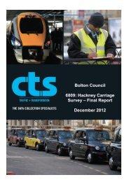 Hackney Carriage Survey - Bolton Metropolitan Borough Council