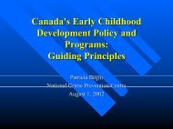 Canada's Early Childhood Development Policy and Programs