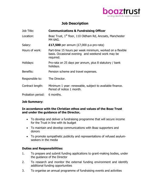 Communications And Fundraising Officer Job Description Boaz Trust