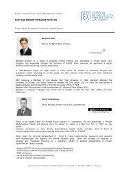PAST AND PRESENT SPEAKER PROFILES - EVCA