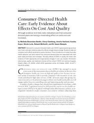 Consumer-Directed Health Care: Early Evidence About Effects On ...